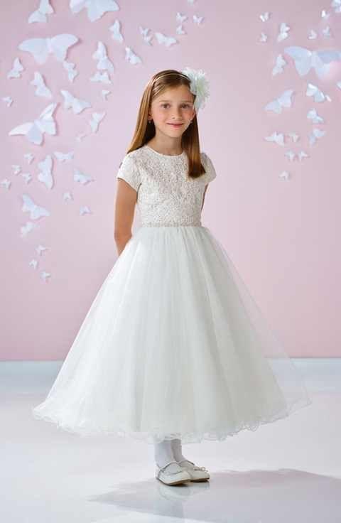 c9797fccec2 Joan Calabrese for Mon Cheri Floral Appliqué First Communion Dress (Little  Girls   Big Girls)