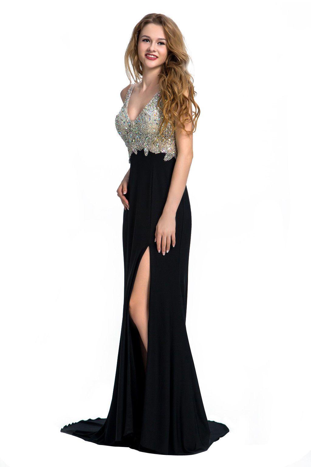 Nice 2017 Luxury Crystals Mermaid Long Prom Dresses V Neck Formal ...