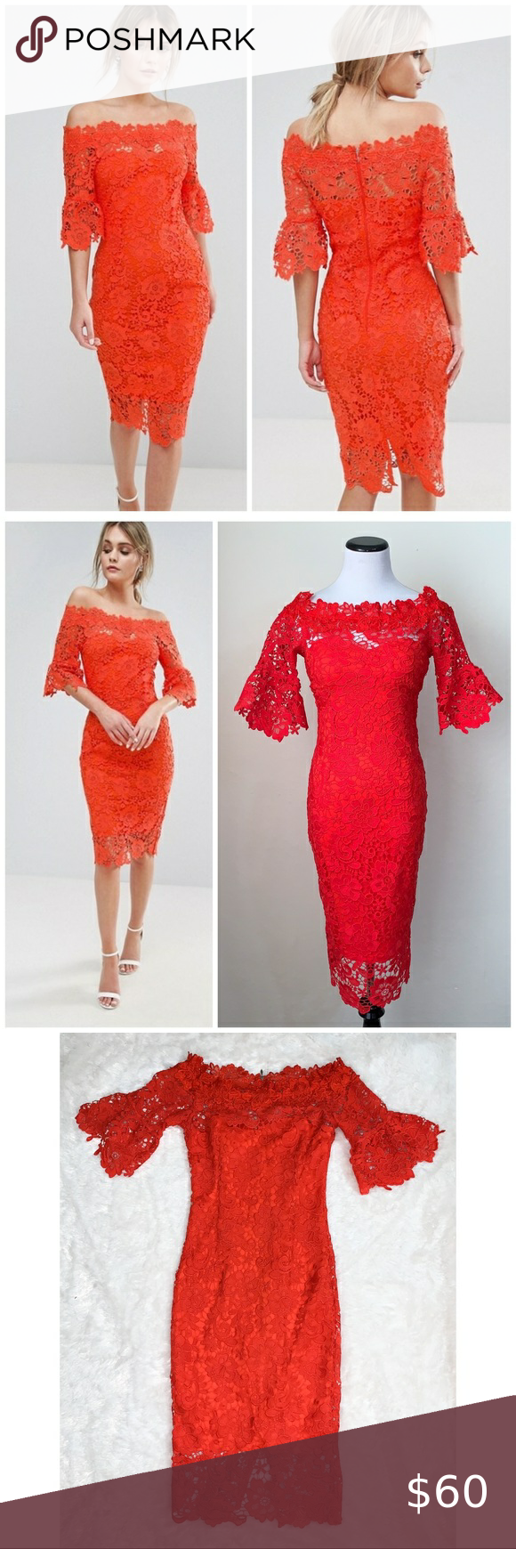 Asos Paper Dolls Red Lace Off Shoulder Midi Dress Paper Dolls Asos Red Off Shoulder Crochet Midi Dress With Frill Sleeves Us Size 4 In 2020 Crochet Midi Dress Red Lace Dresses