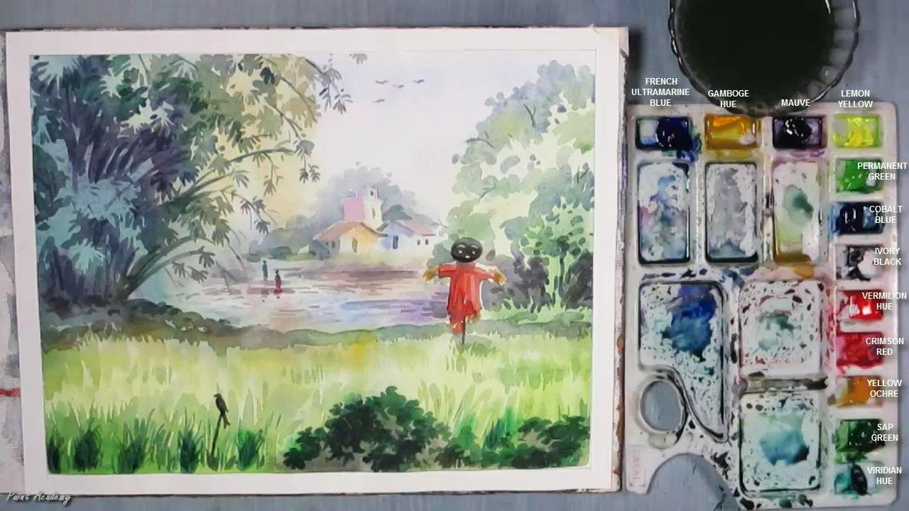 How To Paint A Village Scenery In Watercolor Watercolor Art Diy