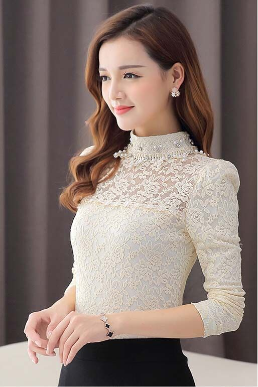long sleeve lace #top floral hollow out
