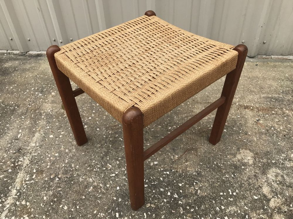 Mid Century Danish Modern Teak Paper Cord Footstool By K D