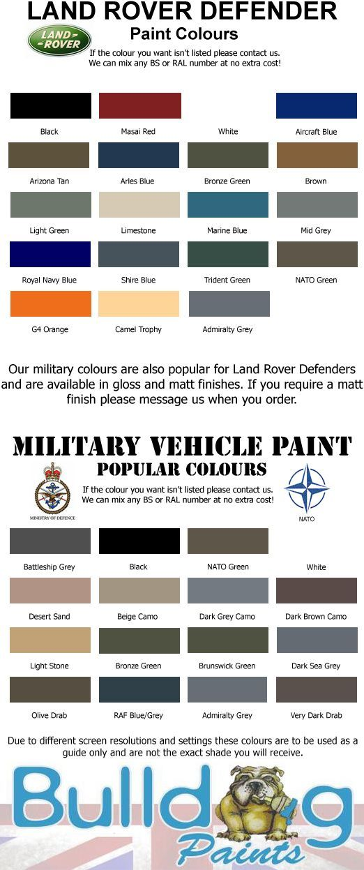 land rover defender paint colours chart