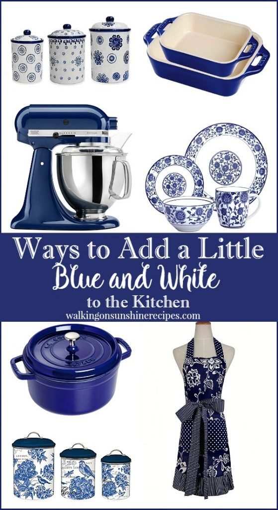 Ways to bring blue and white decor into your kitchen and home. This collection will inspire you to decorate with this timeless color combination from Walking on Sunshine Recipes. #blueandwhite #kitchendecor #kitchendecorating.