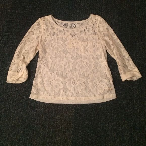 Hollister Half-sleeve Lace Top The tag says M, but this tiny top fits like a S or XS. In absolutely perfect condition! Price firm. Available until June 4; bundle for free with any other purchase. Hollister Tops