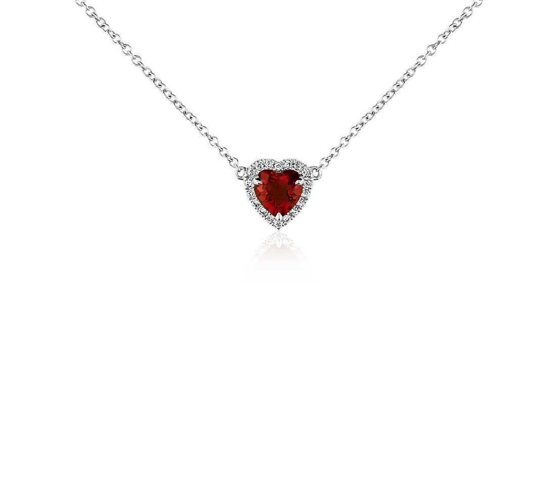 Heart shaped garnet and diamond pendant in 18k white gold 6mm heart shaped garnet and diamond pendant in 18k white gold 6mm mozeypictures Images
