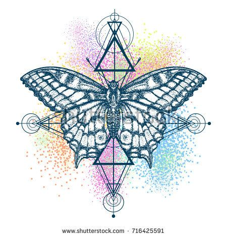 7153ec945 Beautiful Swallowtail boho t-shirt design. Mystical symbol of freedom,  nature, tourism. Realistic butterfly art color tattoo for women