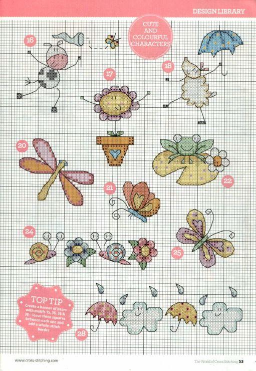 Bordo farfalle varie baby punto croce