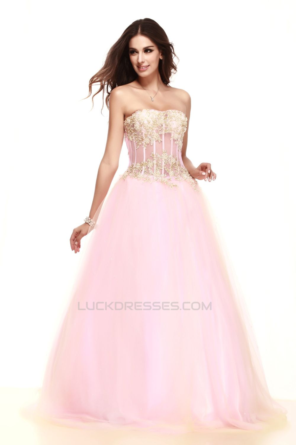 Aline strapless beaded appliques long prom evening party dresses