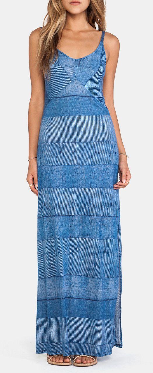 Splendid Textured Ink Stripe Maxi Dress in Indigo Blue