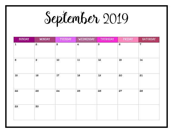 2019 Printable Calendar 2019 Wall Calendar Pages Crazy Colorful