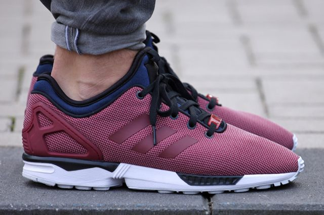 mens adidas burgundy zx flux nps trainers methodology 2
