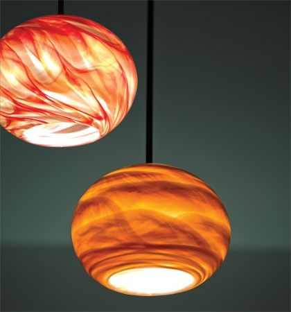 Rose Globe pendants from WPT Design (glass made in New Orleans, La).