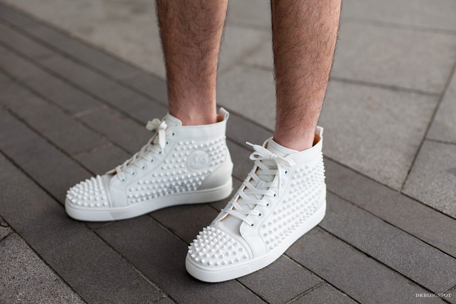 Christian-Louboutin-White-Louis-Spikes-Mens-Flat-High-Top-Sneaker ... 594f50327911