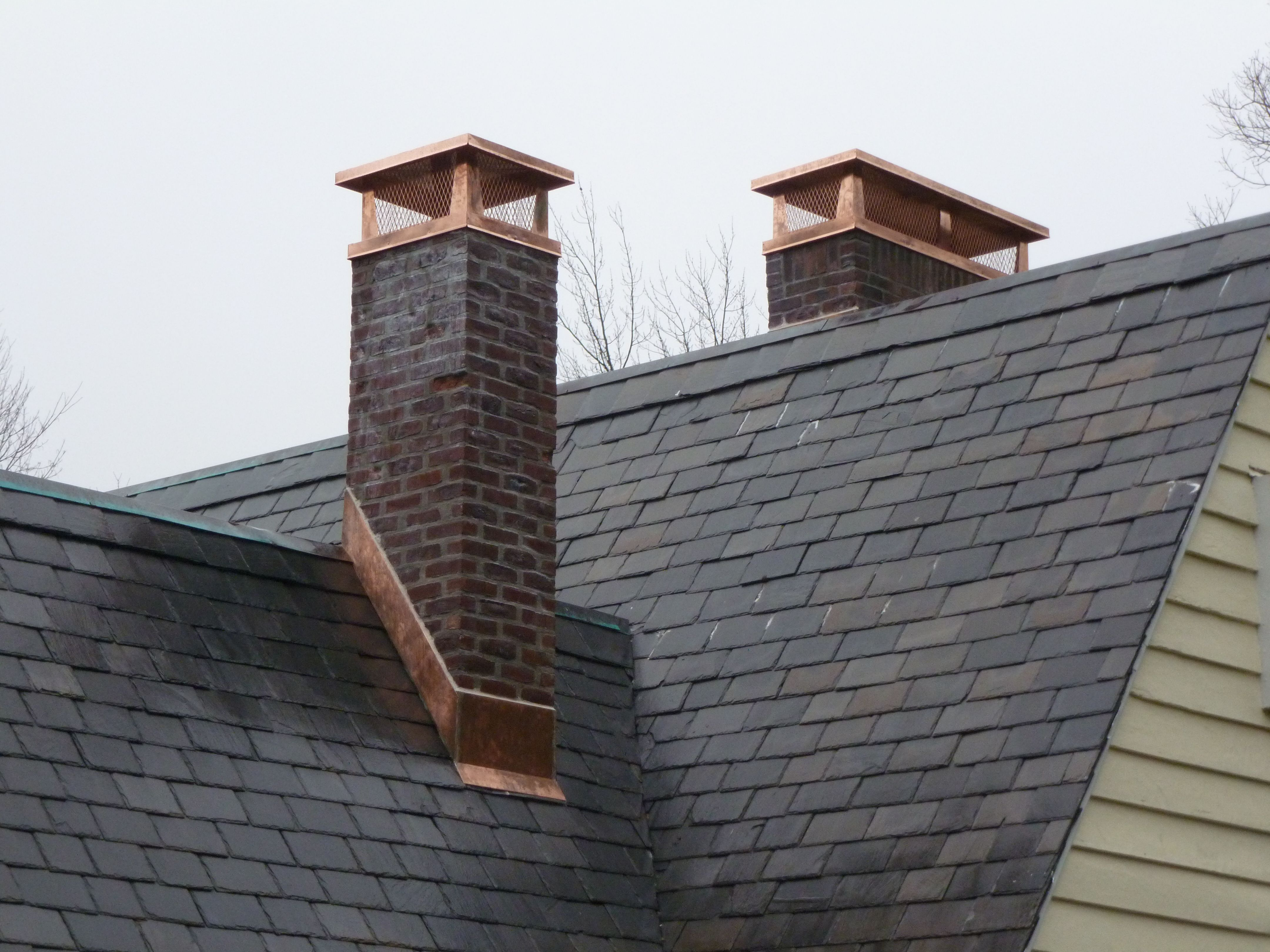 Croton On Hudson Ny Copper Chimney Cap Slate Roof Th Remodeling 1 1 Jpg 4320 3240 Chimney Design Roofing Roofing Options