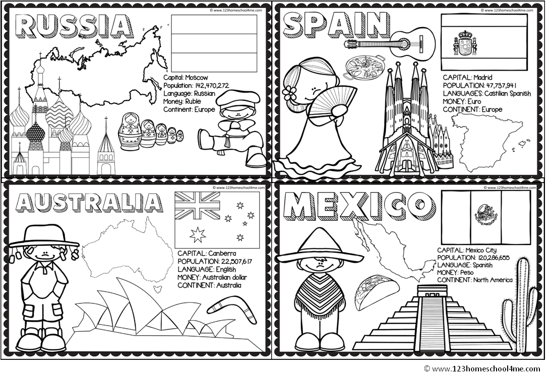 countries coloring pages for homeschool, geography, preschool ...