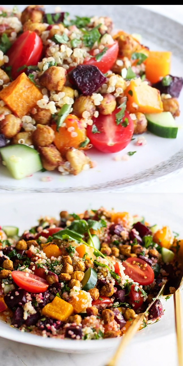 A healthy vegetarian quinoa salad, packed with plant proteins from spiced roasted chickpeas and quinoa. The best moroccan chickpea salad! | SUNKISSEDKITCHEN.COM |