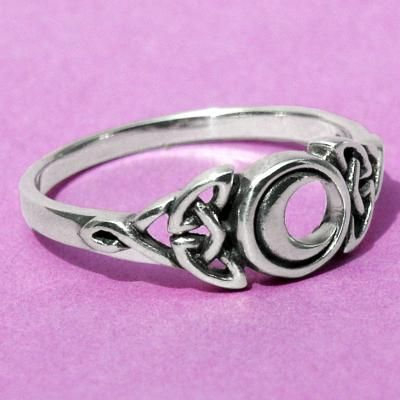 """Celtic Moon Ring - Continue the magical moon motif to the very tips of your fingers with this matching ring. Central moon measures 5/16"""" in diameter.  Available in whole sizes only. #Celestial #Celtic #CelticRingsCladdaghRingsWeddingRingsandMore #MoonsStars #SterlingSilverRings-CelticRingsPaganRingsCladdaghRingsUnusualRingsNatureRingsWeddingRingsEngagementRings #GryphonsMoon"""