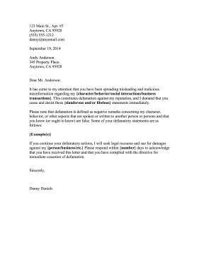 Cease And Desist Defamation Business Form Template Letter