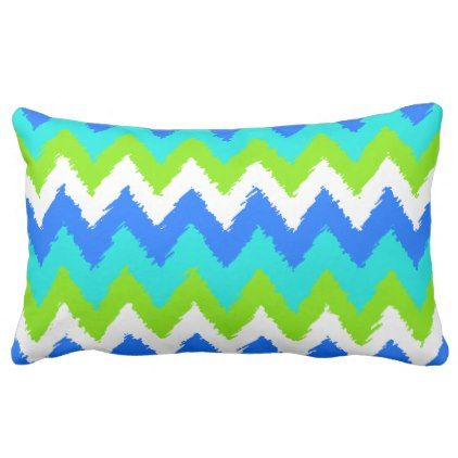 Bright Summer Colors Funky Ikat Zigzag Pattern Lumbar Pillow