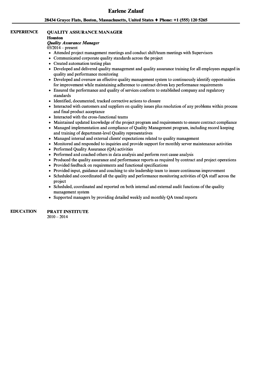 resume format quality control manager resumeformat