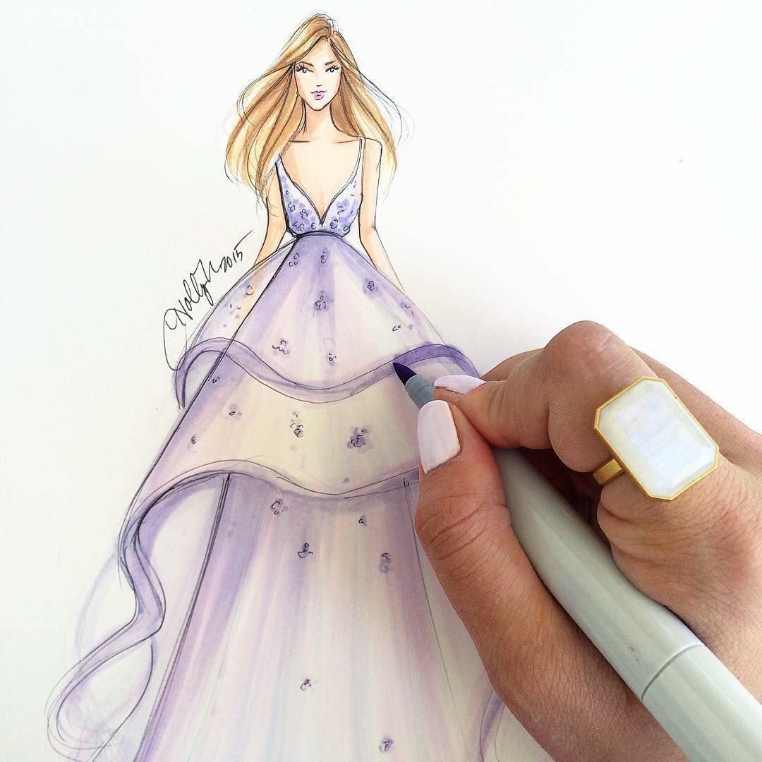 Holly Nichols On Instagram A Dream Gown And A Daydream Ringly Fashionart Fashionsketch Tbt Fashionillust Fashion Fashion Illustration Fashion Sketches