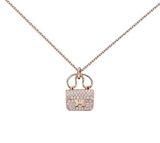 Constance charm pendant hermes pendant in rose gold with diamonds constance charm pendant hermes pendant in rose gold with diamonds 029 ct adjustable aloadofball Gallery