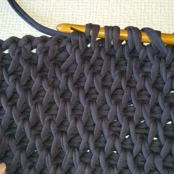 Punto panal trapillo pinterest puntos trapillo y tejido - Puntos crochet trapillo ...