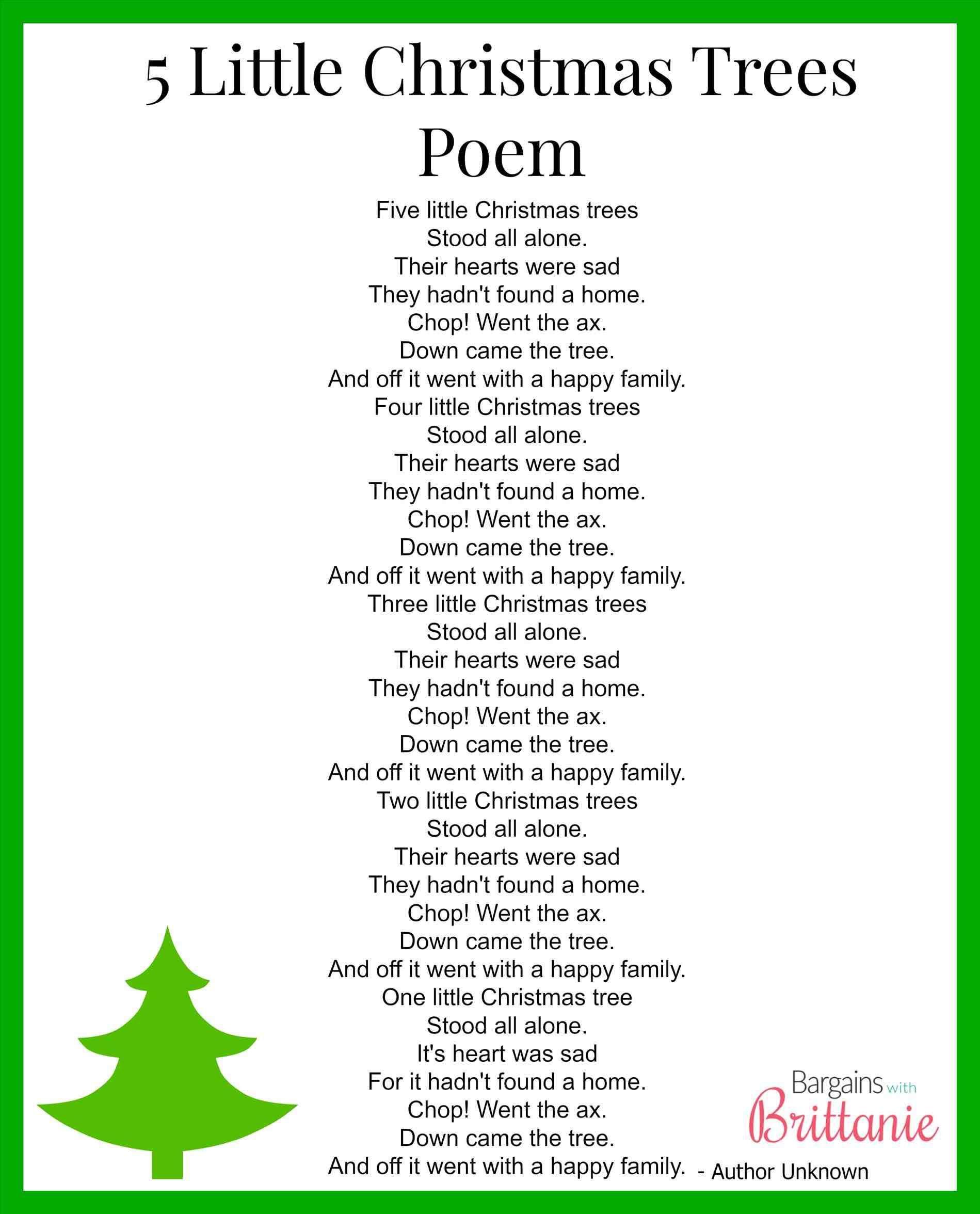 New Post Short Christmas Tree Poems