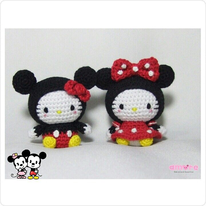 Amigurumi dress as Mickey and Minnie mouse | Crochet doll ...