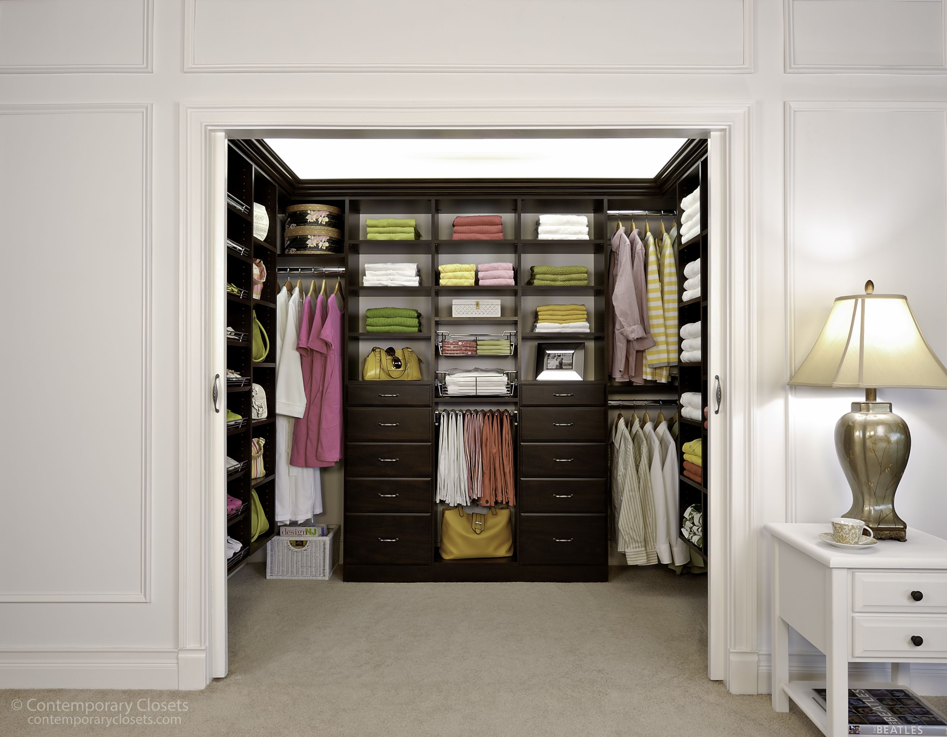 Espresso Walk In With Crown Molding | Walk-In Closets | Pinterest