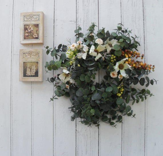 Photo of Eukalyptuskranz, künstliches Blumendekor, künstliche Blumen