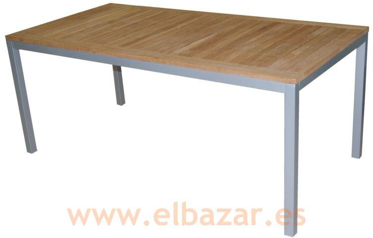 Mesa Teca, estructura aluminio. Mediterranea | Comprar ahora ...