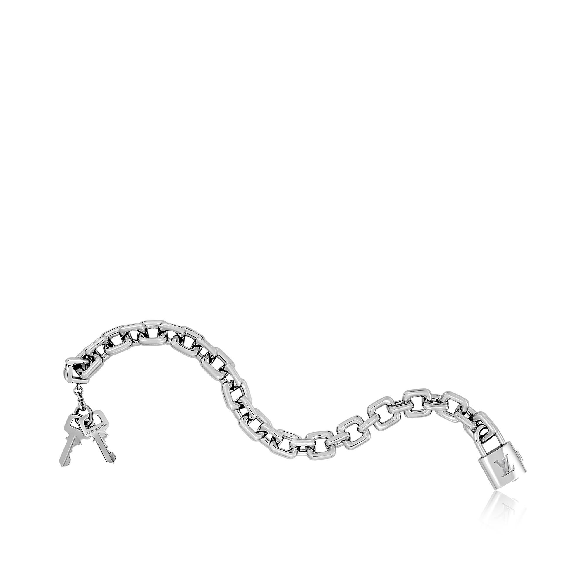 Discover louis vuitton padlock and keys charm bracelet in white gold