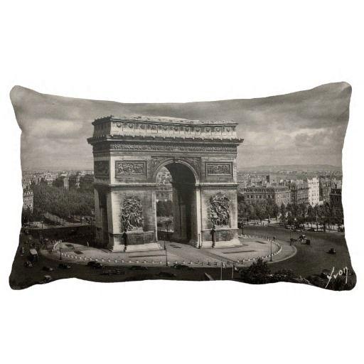 Paris vintage Arc de Triomphe 1943 Pillow