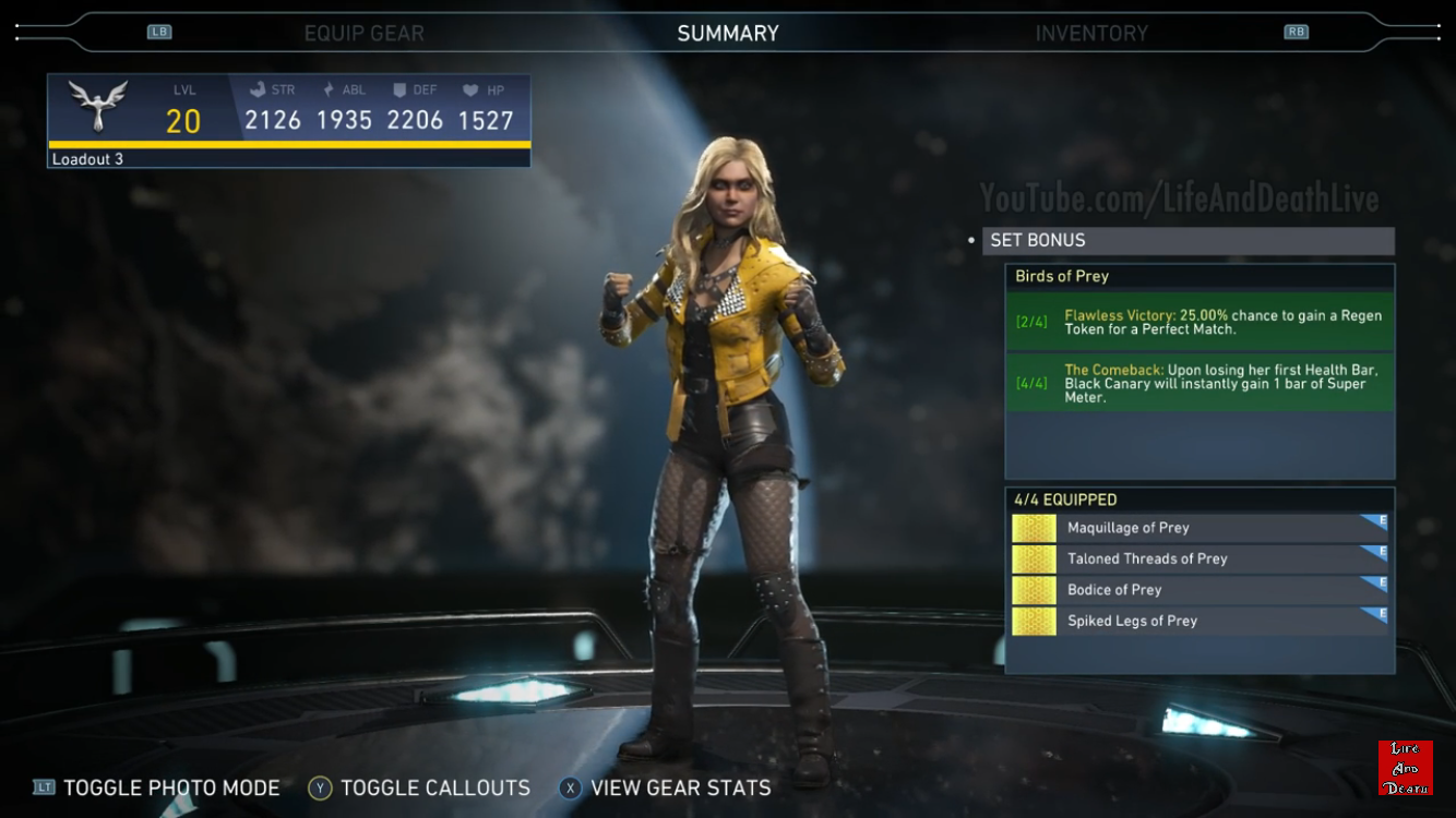 Black Canarys Birds Of Prey Epic Gear Set  Injustice 2 -8363