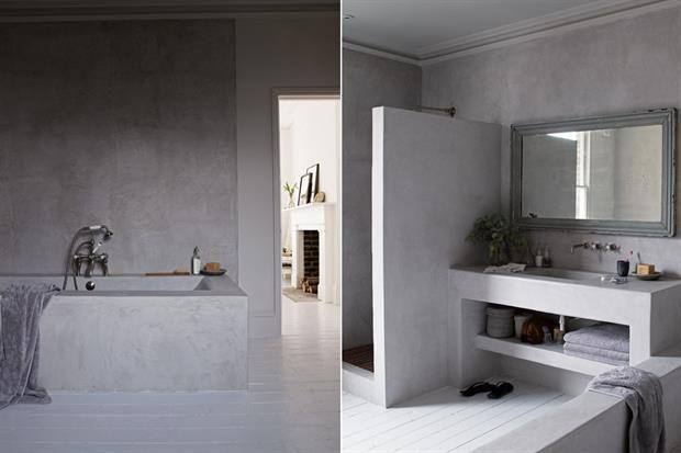 6 estilos para decorar tu baño - En esta casa, se ganó espacio para el baño en suite incorporando el cuarto contiguo. La reforma conservó el piso original pintado de blanco y se hicieron a nuevo ducha, bañadera y lavatorio en cemento alisado. Living - ESPACIO LIVING
