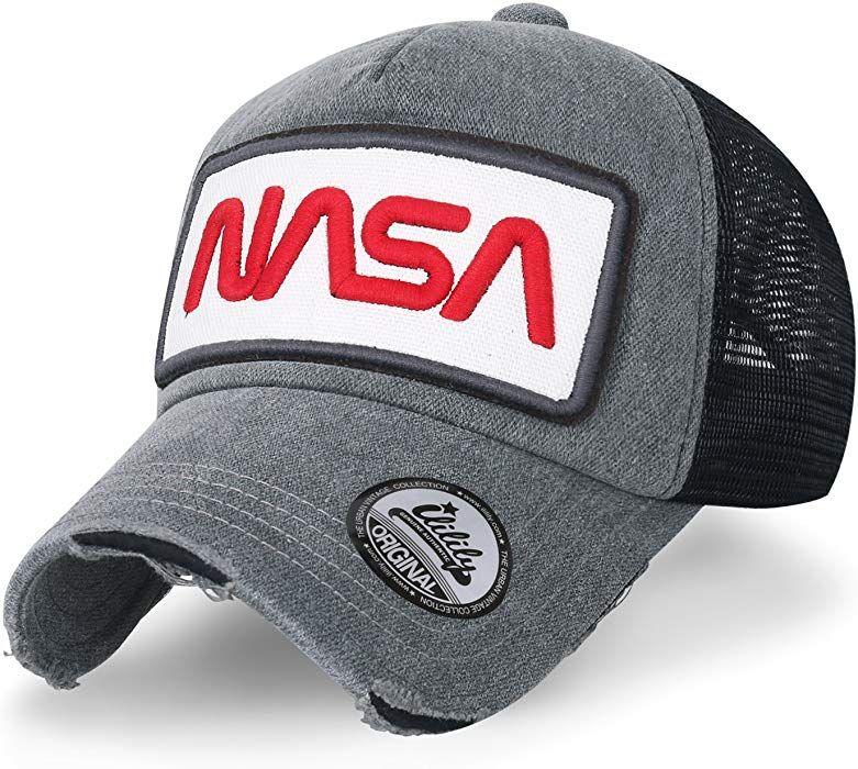 ililily NASA Worm Logo Embroidery Baseball Cap Mesh Snap