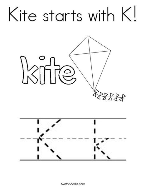 Kite starts with K Coloring Page - Twisty Noodle Letter coloring - fresh free coloring pages of a kite
