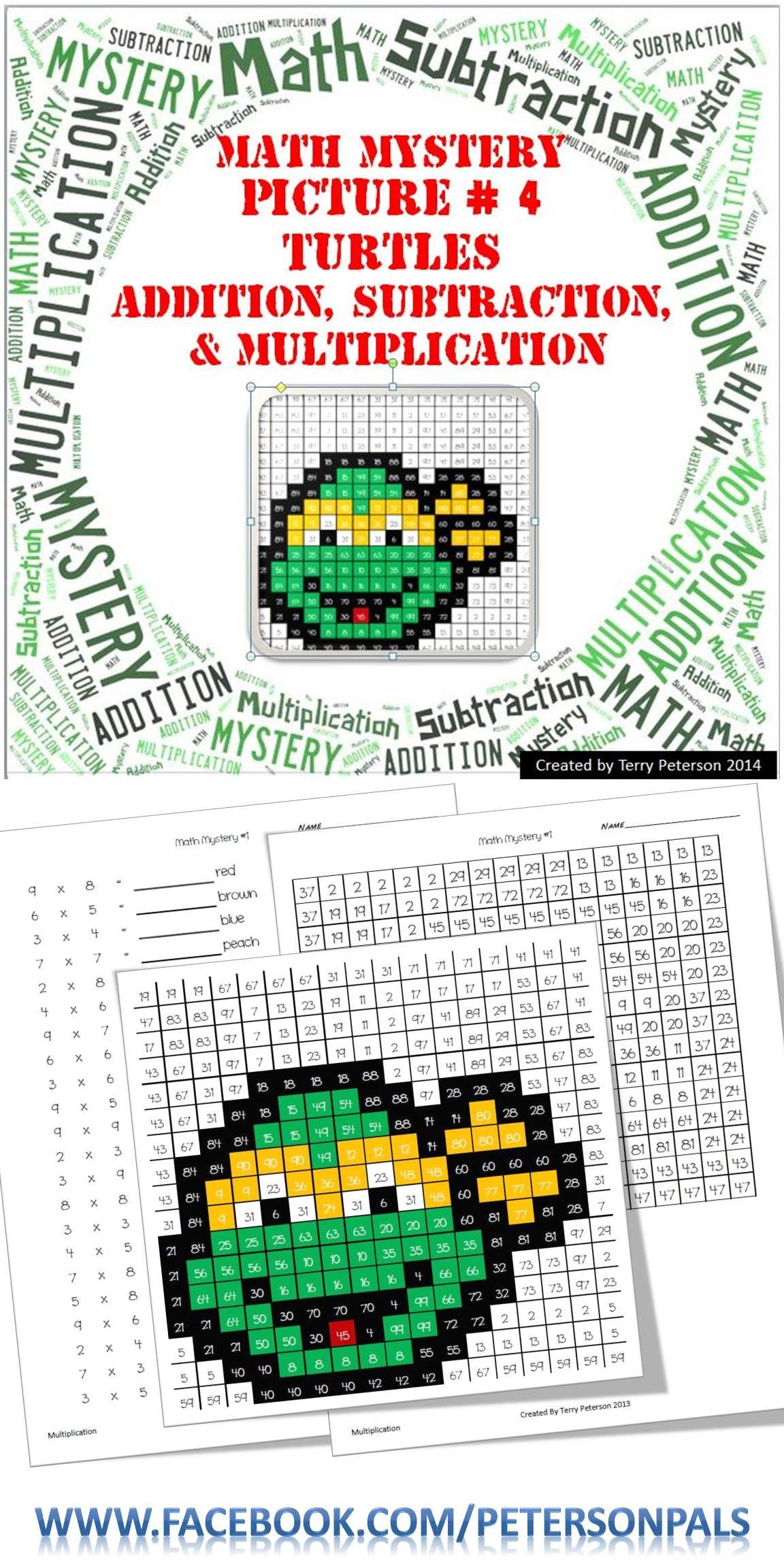 Ninja Turtles Math Mystery Picture 4 Addition
