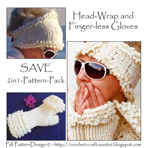 2in1 - Winter White Head-Wrap and Winter White Fur-Gloves. Special ...