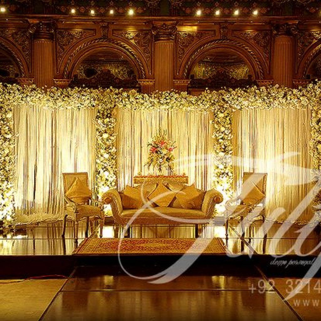 Pakistani wedding stage decoration as with new trend and for Wedding hall decoration photos