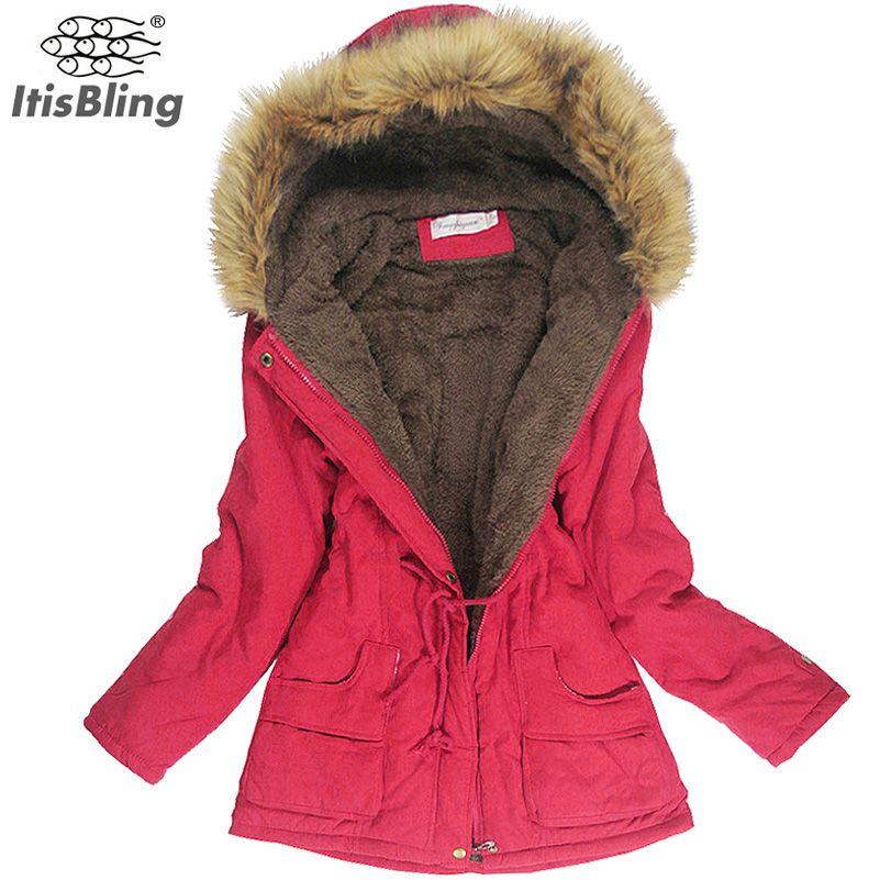 Cheap Chaqueta de Cuello de Piel de Imitación de Las Mujeres Para Mujer  Abrigos de invierno Largo de Down Parka Plus Size Señora Hoodies Parkas  Cálido ... aa38ebb9f264