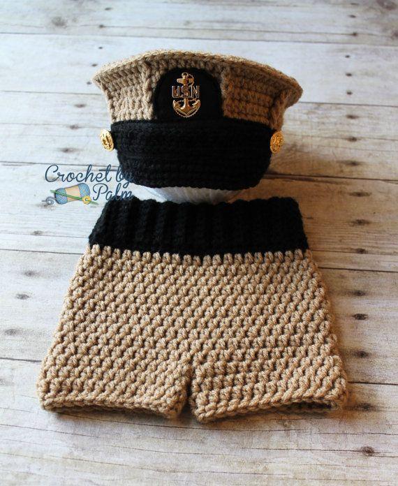 Original Design Crochet US Navy Chief Hat, Baby Pants set, US Navy ...