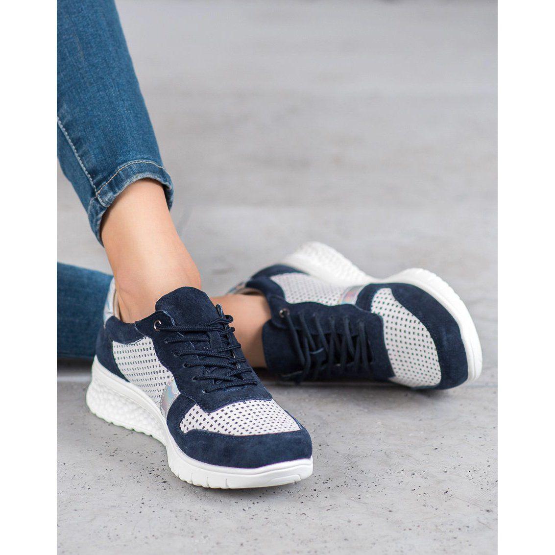 Filippo Skorzane Polbuty Z Efektem Holo Biale Granatowe Szare Sneakers Nike Nike Huarache Shoes