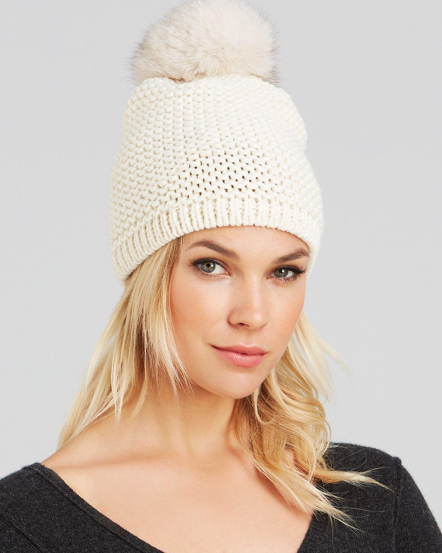 Kyi Kyi Fox Fur Pom-Pom Slouchy Knit Hat  d01c0ba49a5