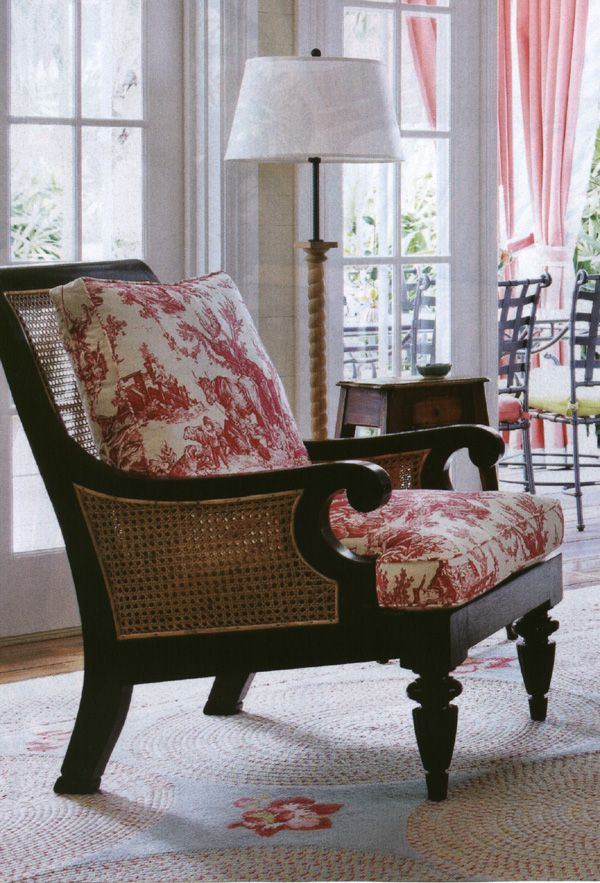Red Toile Cushions On Wood And Cane Chair Classic Combo