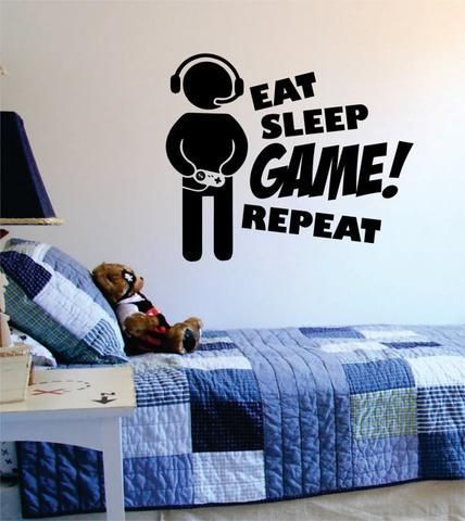 Eat Sleep Game Repeat Version 2 Gamer Decal Sticker Wall Vinyl Art Decor Basketball Room Sports Themed Room Basketball Bedroom