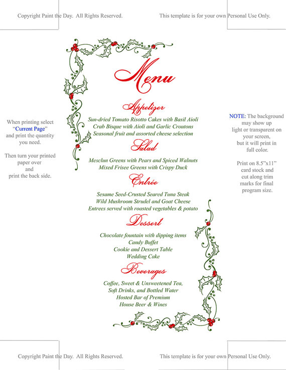 Instantly download and print your own holiday menu cards with this - downloadable receipt