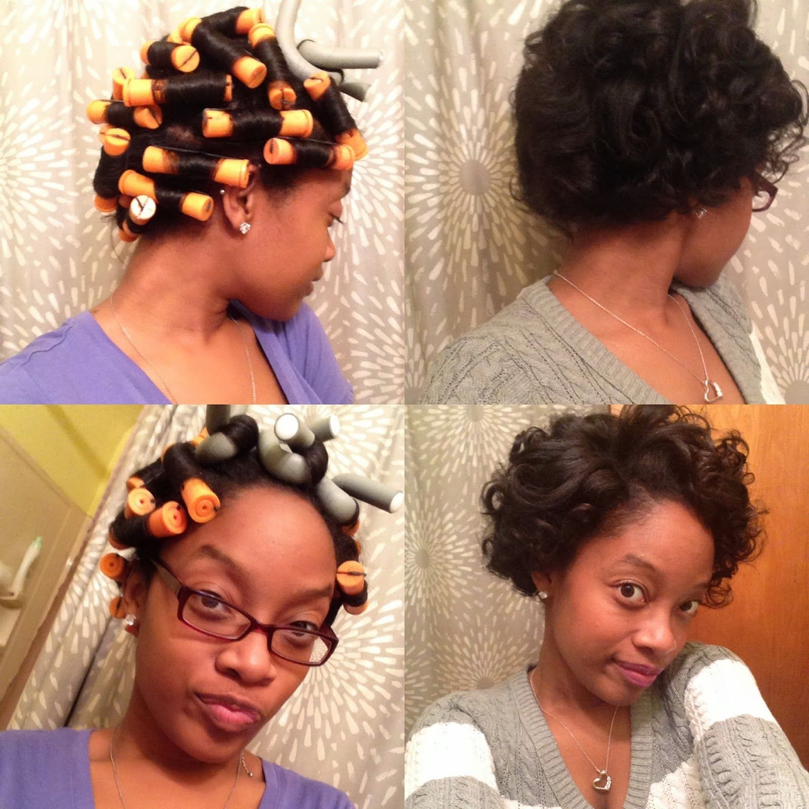 dry roller set for transitioning to natural african american hair